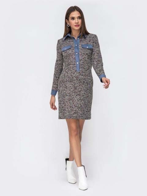 Обтягивающее платье из фактурного трикотажа серое 42014, фото 1
