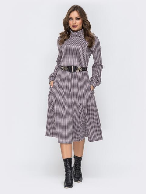 """Платье с принтом """"гусиная лапка"""" черное 44191, фото 1"""