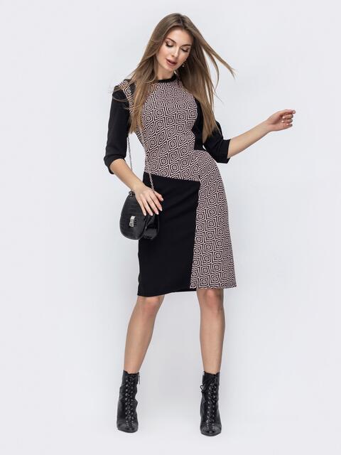 Приталенное платье чёрного цвета с принтом 45774, фото 1
