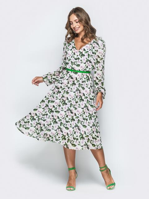 Шифоновое платье с растительным принтом 38928, фото 1