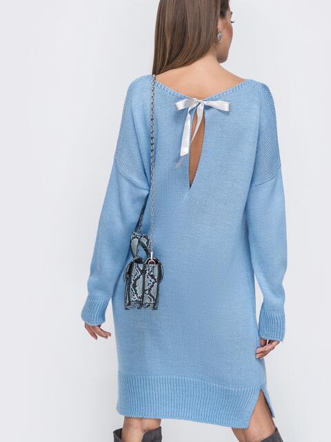Вязаное платье с вырезом по спинке голубое 41047, фото 1