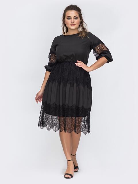 Чёрное платье батал с кружевом и резинкой по талии 43714, фото 1