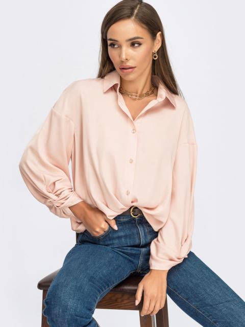 Пудровая блузка свободного кроя с декоративным узлом 55080, фото 1