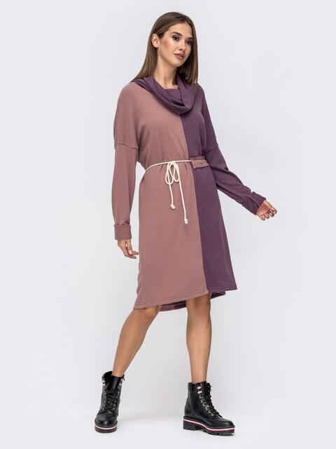 Платье с воротником-хомут и кулиской по талии фиолетовое 41481, фото 1