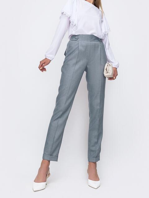Серые брюки с подворотами и резинкой в талии  49488, фото 1