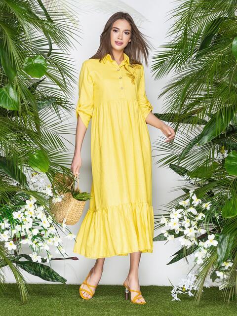 """Платье с вышивкой """"колибри"""" и завышенной талией желтое 21923, фото 1"""