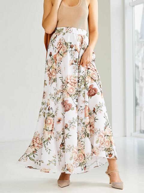 Шифоновая юбка-макси с цветочным принтом белая 53875, фото 1