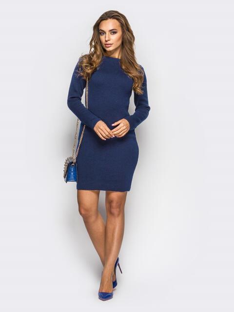 Вязанное платье-футляр с длинным рукавом тёмно-синее 13771, фото 4
