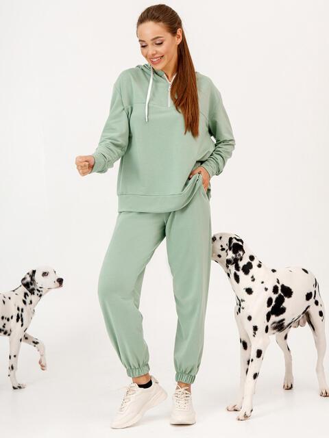 Зеленый костюм с брюками и худи с молнией 53344, фото 1