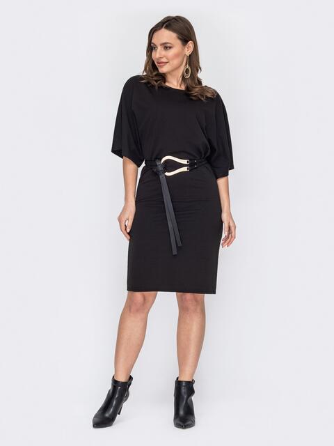 """Черное платье с рукавом """"летучая мышь"""" 53088, фото 1"""