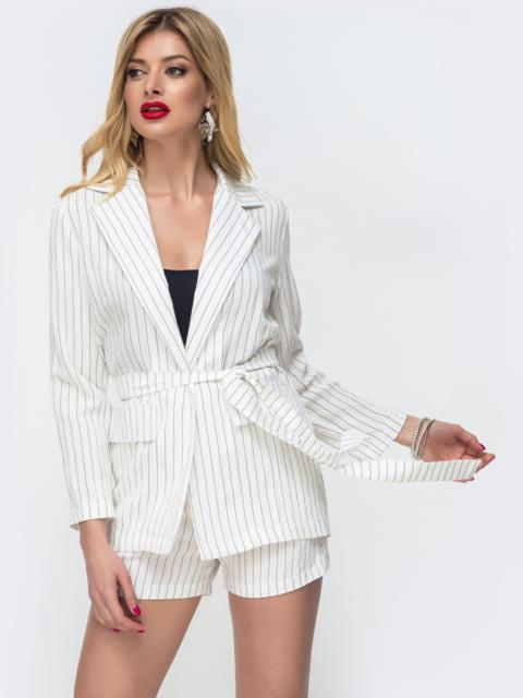 Белый комплект в полоску с шортами и жакетом без застёжек 46626, фото 1