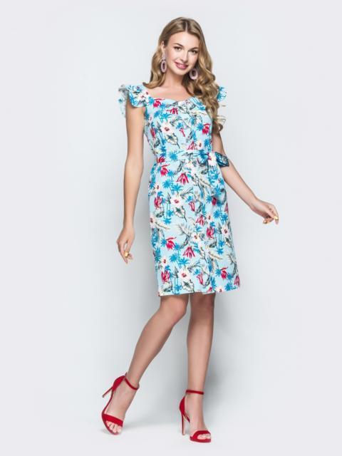 Голубое принтованное платье на широких бретелях с воланами 38394, фото 1