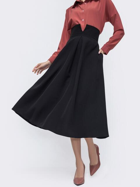 Чёрная юбка-полусолнце с асимметричным поясом 45724, фото 1