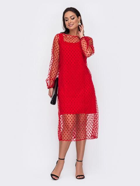 Двухслойное платье батал приталенного кроя в горох красное 52149, фото 1