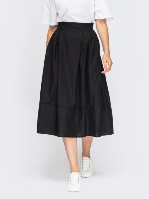 Льняная юбка-баллон черного цвета 50043, фото 1