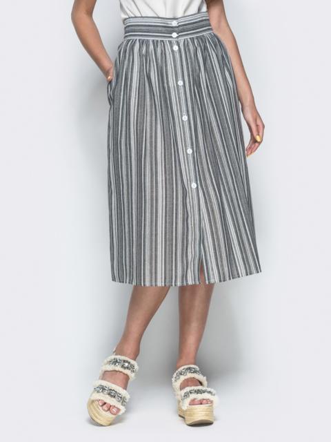 Льняная юбка в полоску с завышенной талией серая 38300, фото 1