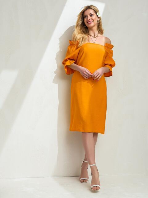 Платье прямого кроя с открытыми плечами желтое 49207, фото 1
