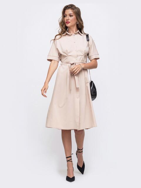 Бежевое платье-рубашка с поясом 49612, фото 1