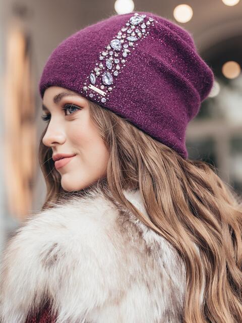 Двойная шапка-бини с люрексом и стразами фиолетовая 40290, фото 1