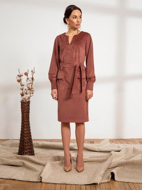 Розовое платье из вельвета с накладными карманами 44236, фото 1