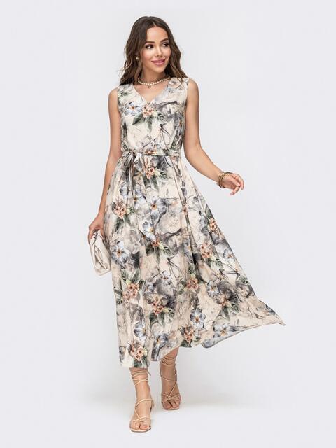 Длинное платье с принтом и расклешенной юбкой бежевое 49343, фото 1