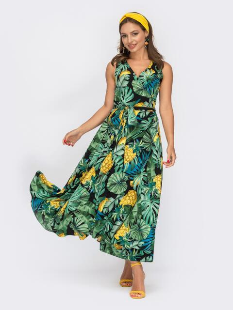 Принтованное платье на запах без рукава зеленое 53963, фото 1