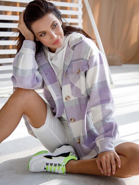 Теплая рубашка в крупную клетку фиолетовая 51230, фото 1