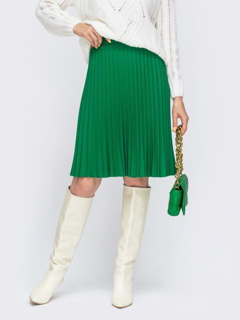 Зелёная юбка-плиссе до колена 55422, фото 1
