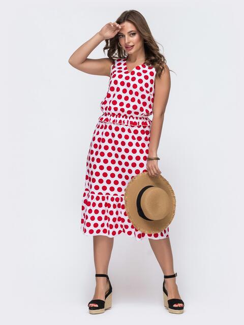 Белое платье в красный горох с воланом по низу 48052, фото 1