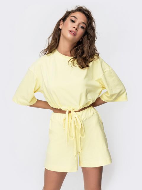 Комплект желтого цвета с шортами на кулиске   49348, фото 1