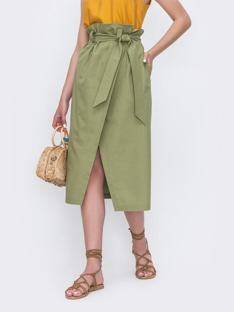Льняная юбка на запах с завышенной талией хаки 49180, фото 1