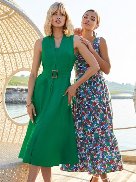 Платье без рукавов из хлопка с V-образным вырезом зеленое 54219, фото 1