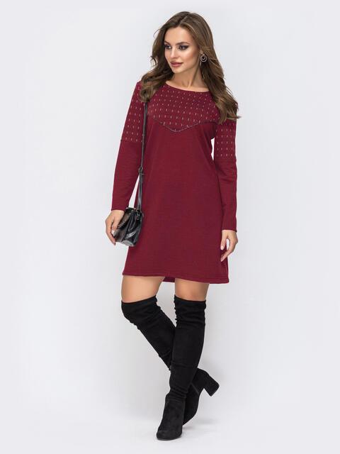 Платье из двунитки с контрастной кокеткой бордовое 51544, фото 1
