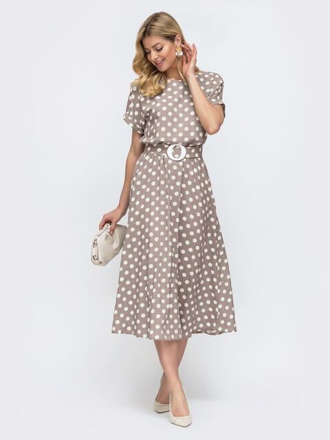 Бежевое платье в горох с расклешенной юбкой 47754, фото 1