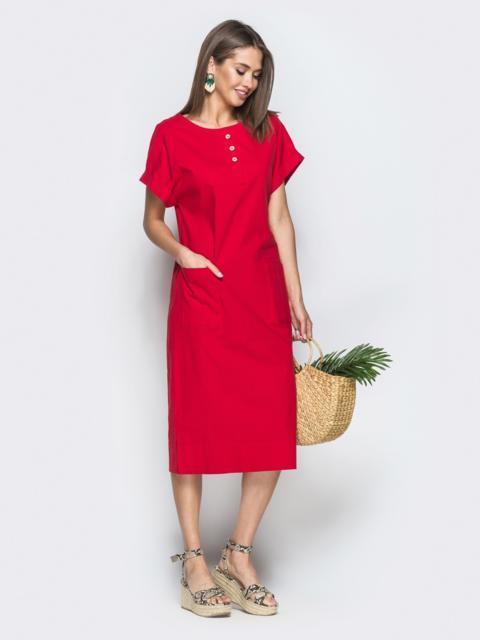 Красное платье из льна с накладными карманами 38889, фото 1