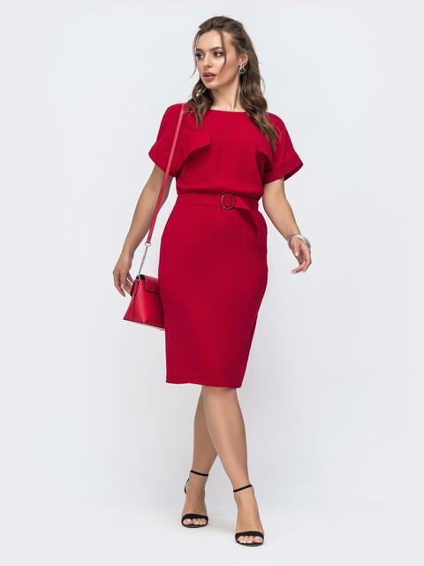 Красное платье прямого кроя с цельнокроеным рукавом  46860, фото 1