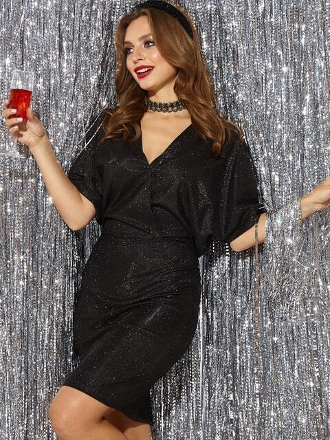 """Платье из люрекса с рукавом """"летучая мышь"""" и вырезом по спинке чёрное 42922, фото 1"""
