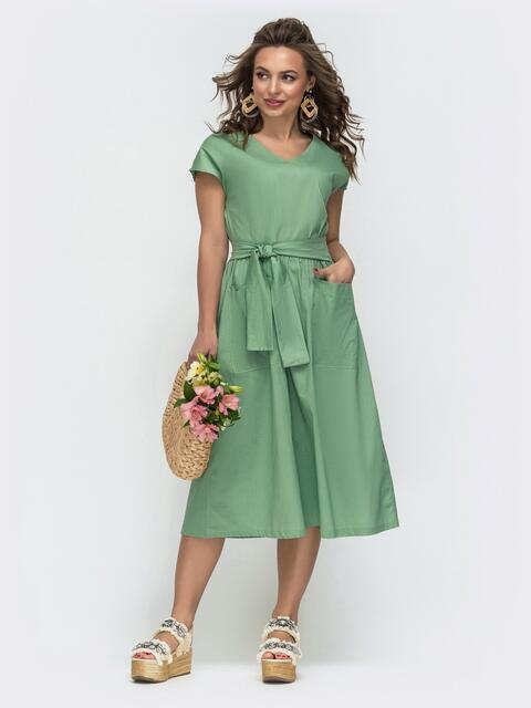 Расклешенное платье с цельнокроеным рукавом зеленое 47482, фото 1