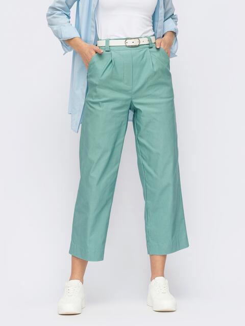 Зелёные укороченные брюки прямого кроя 53942, фото 1