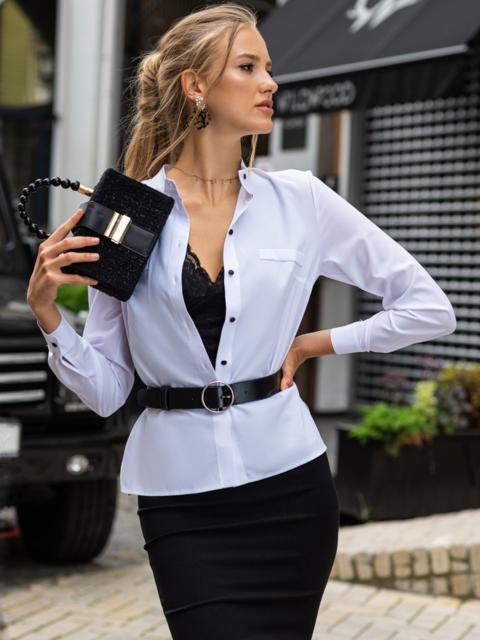 Белая блузка прямого кроя с воротником-стойкой 49495, фото 1