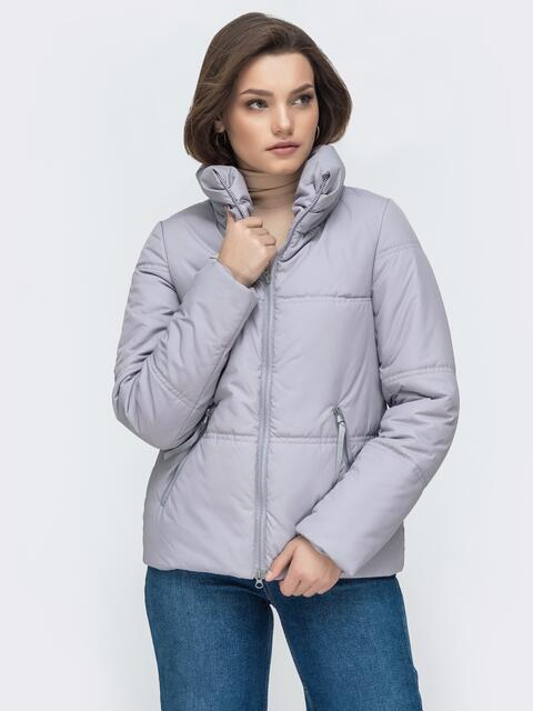 Демисезонная куртка с высоким воротником серая 45286, фото 1