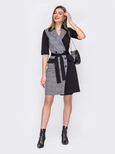 Двубортное платье-пиджак в синюю клетку чёрное 52867, фото 1