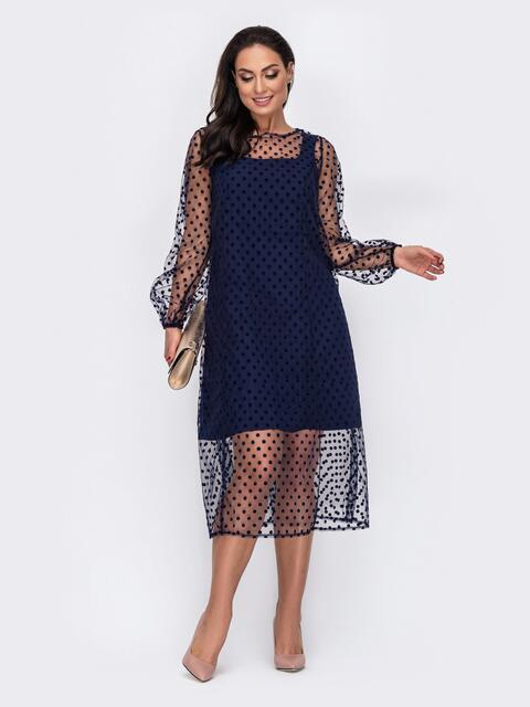 Двухслойное платье батал приталенного кроя в горох тёмно-синее 52150, фото 1