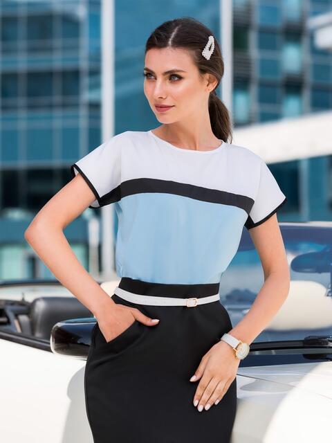 Голубая блузка свободного кроя со вставками 39823, фото 1
