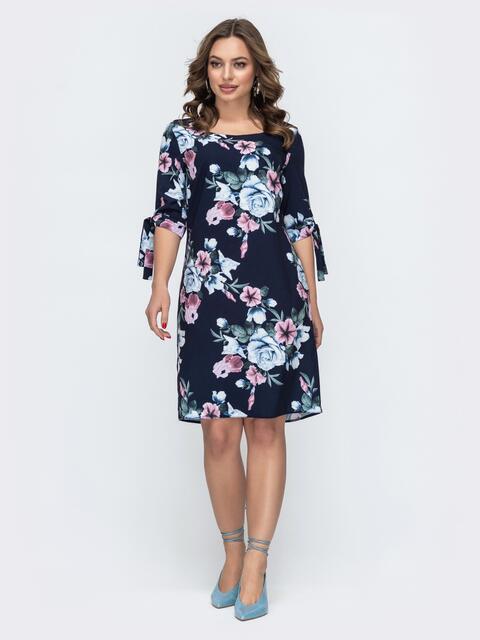 Платье из софта с цветочным принтом синее 46927, фото 1