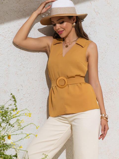 Желтая блузка с V-вырезом и разрезами по бокам 49122, фото 1