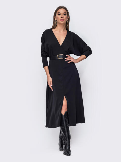 """Черное платье с  рукавом """"летучая мышь"""" и разрезом спереди 52375, фото 1"""