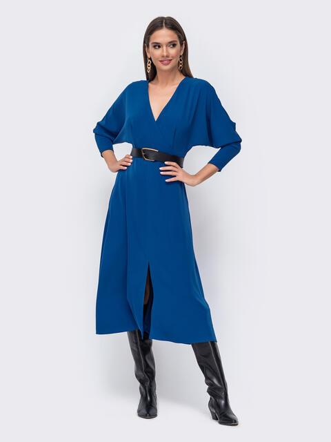 """Синее платье с рукавом """"летучая мышь"""" и разрезом спереди 52374, фото 1"""