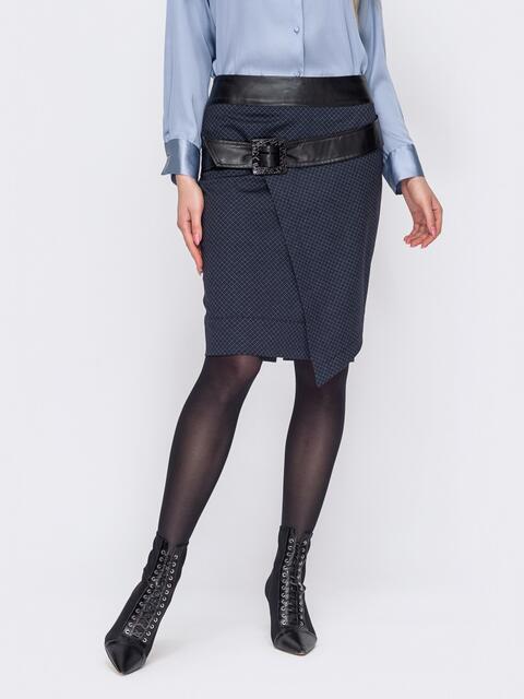 Темно-синяя юбка в клетку со вставками из экокожи 52959, фото 1
