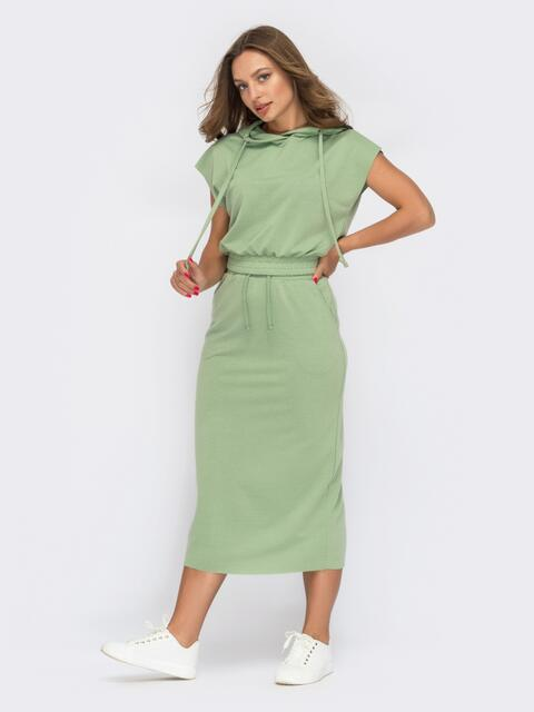 Костюм мятного цвета из юбки и топа с капюшоном 53966, фото 1